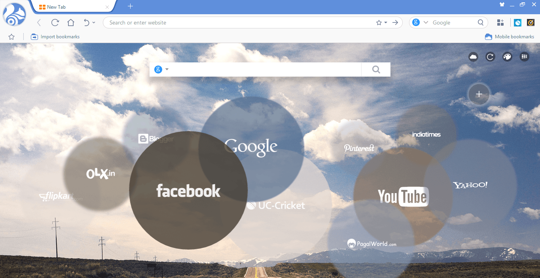 Поисковая строка браузера Uc Browser
